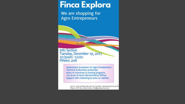 PRTEC les invita a su taller: FINCA EXPLORA