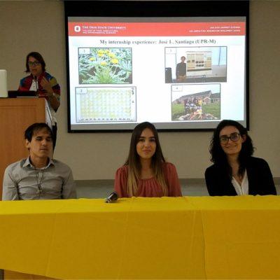 Student's Panel- Summer Internships Experiences: José L. Santiago (UPR-M), Lourdes Quintana (UPR-Ag) and Joselyn Torres  (PCUPR-P).