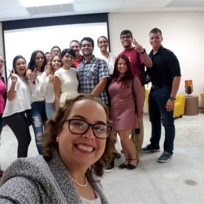 Dr. Angela González, Co-PD of the ECaFSS Project at Inter American University of Puerto Rico- San Germán Campus with her students.