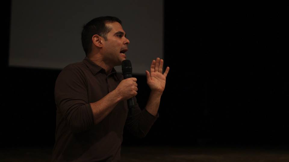 Alex Santiago speaking to students after the film Photo Credit: Fran Zayas)