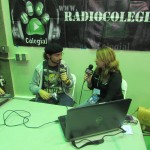 A professor from the English Department is being interviewed for Radio Colegial.
