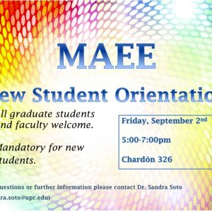 You are invited: MAEE Student Orientation