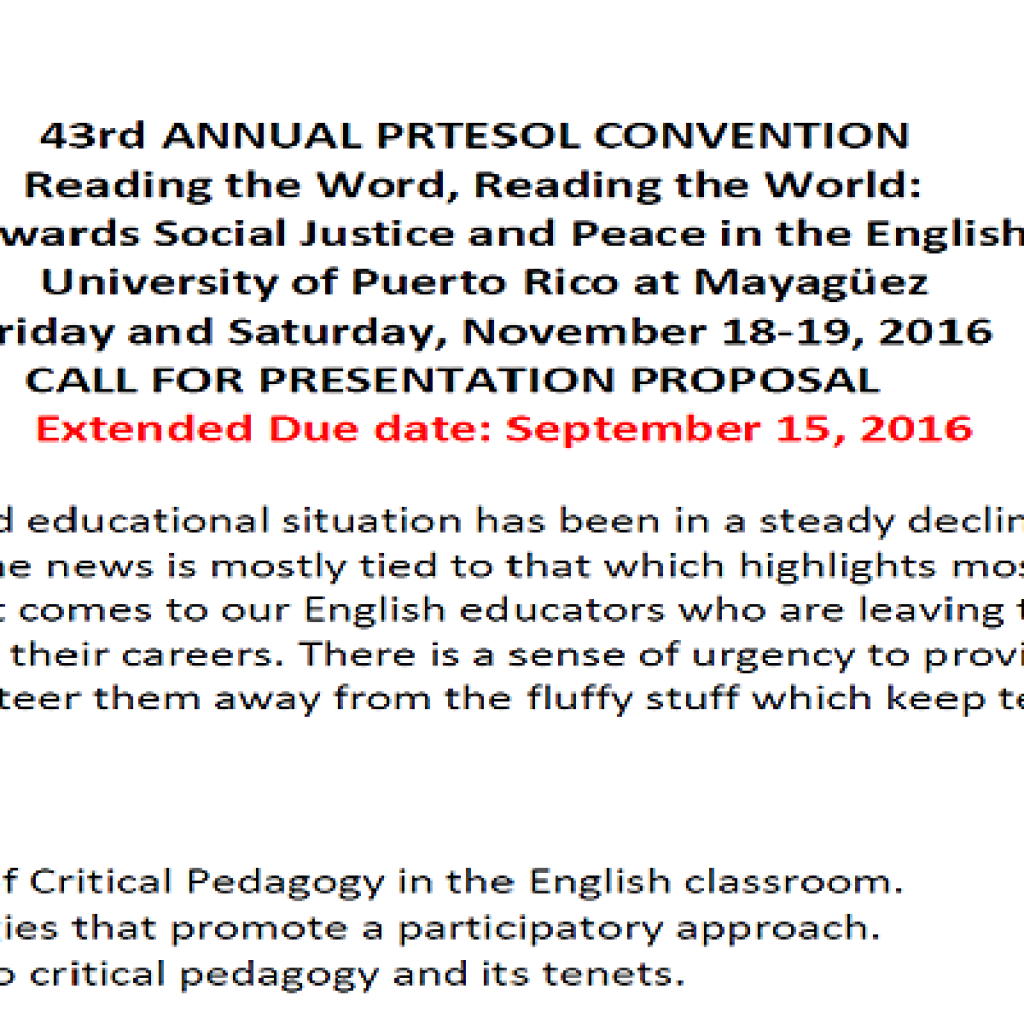 Call for Proposals 2016 PRTESOL Convention