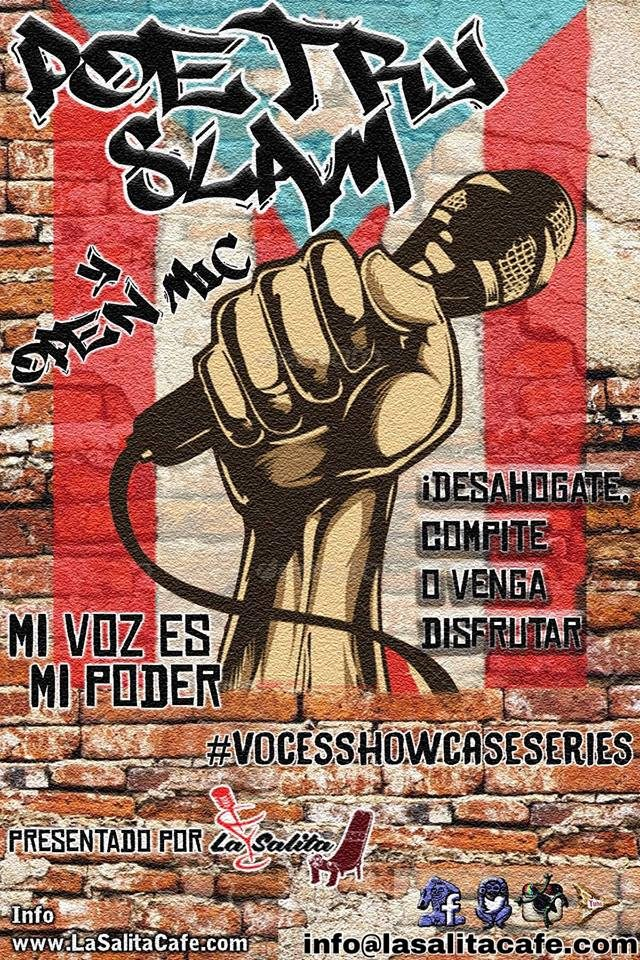 Poetry Slam flyer with Puerto Rican flag and a microphone.