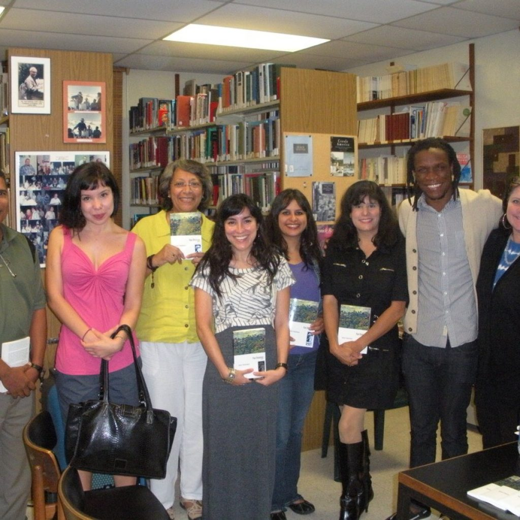 Meet María Quintero Aguiló with my peers during a visit from Jamaican poet Ishion Hutchinson and also published poet, Dr. Loretta Collinster .