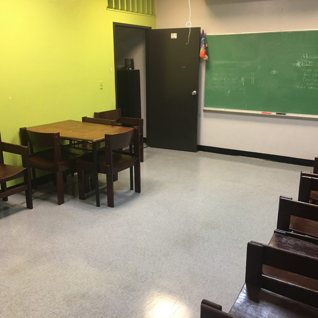 A cleaned classroom.