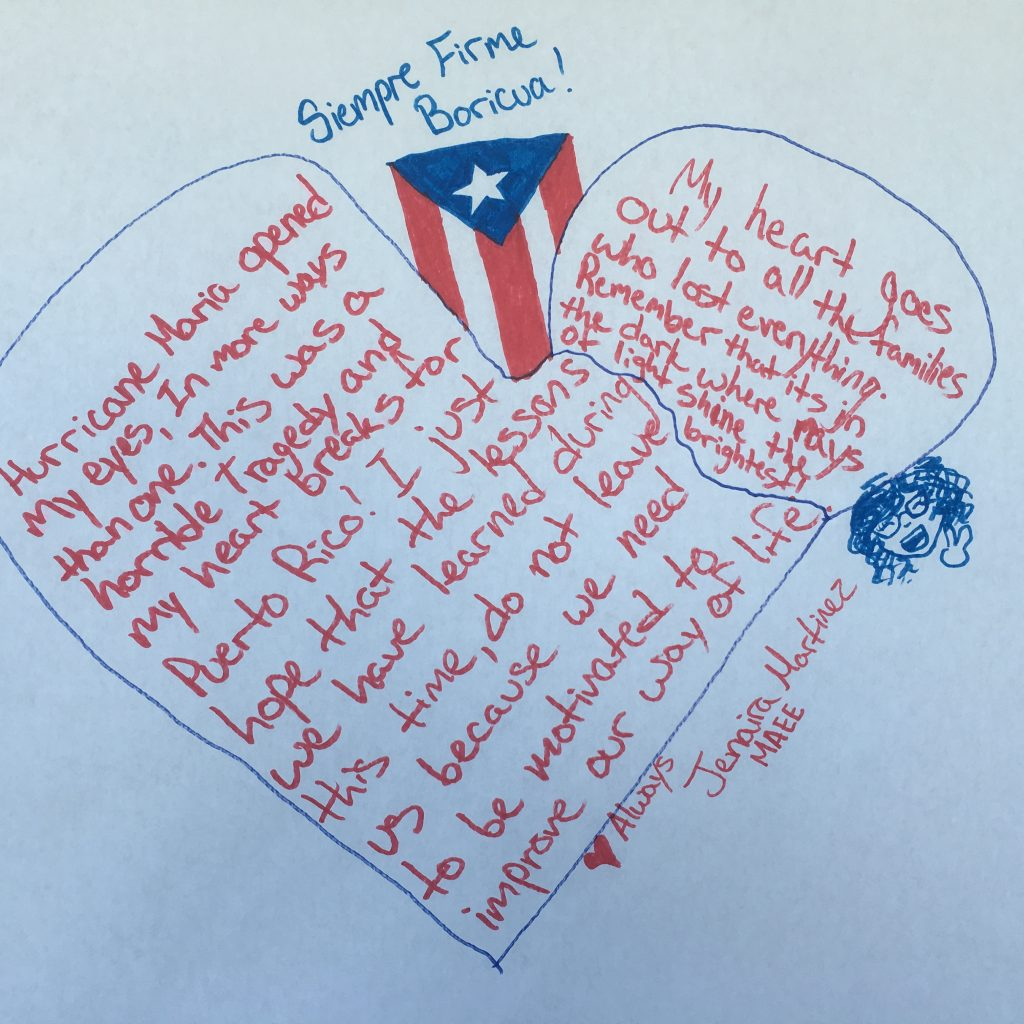 "A ""Siempre Boricua"" positive motivational message on the Post-Hurricane Maria wall."