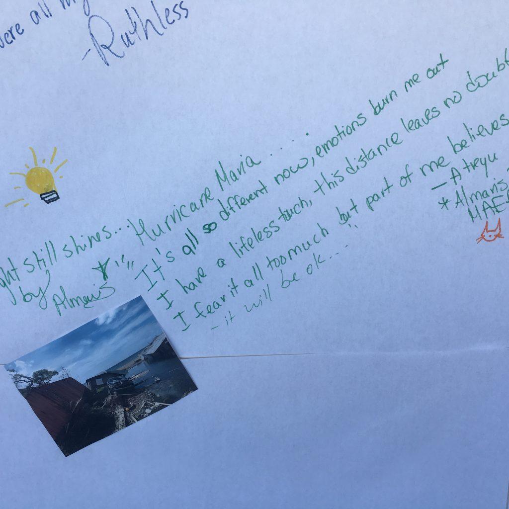 Lyrics of an Atreyu song written on the Post-Hurricane Maria wall.