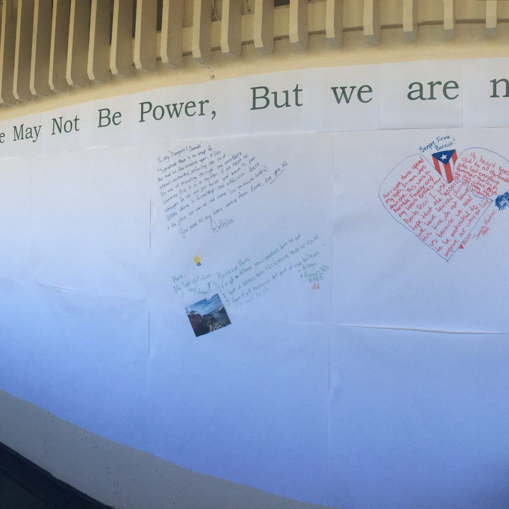 First messages and images on the Post-Hurricane Maria wall in front of the English Department.