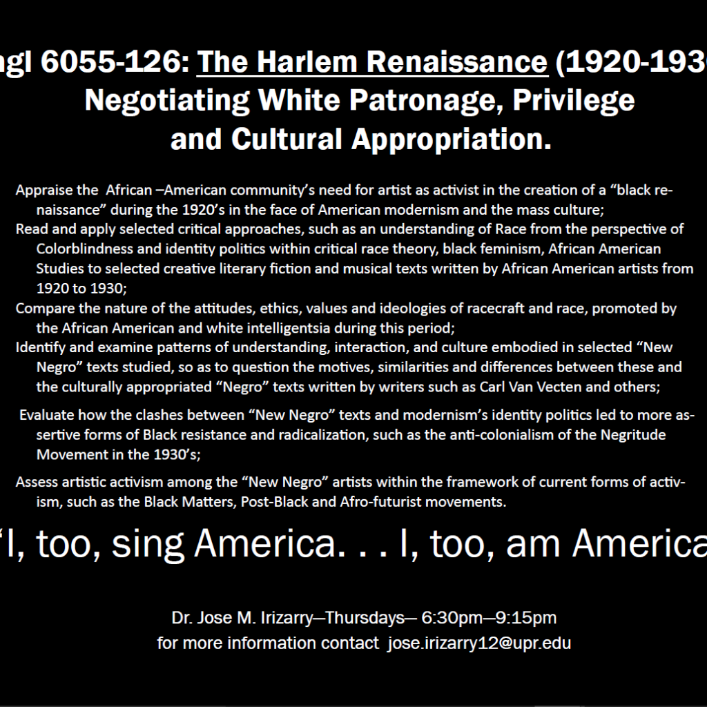 Description of the English course INGL 6055: The Harlem Renaissance.