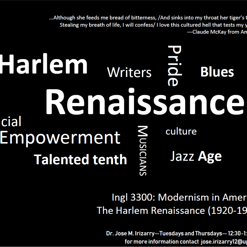 Cloud image promoting the English course INGL 3300: Modernism in America, The Harlem Renaissance.