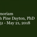 Image with the words: In memorian of Elizabeth Pine Dayton.