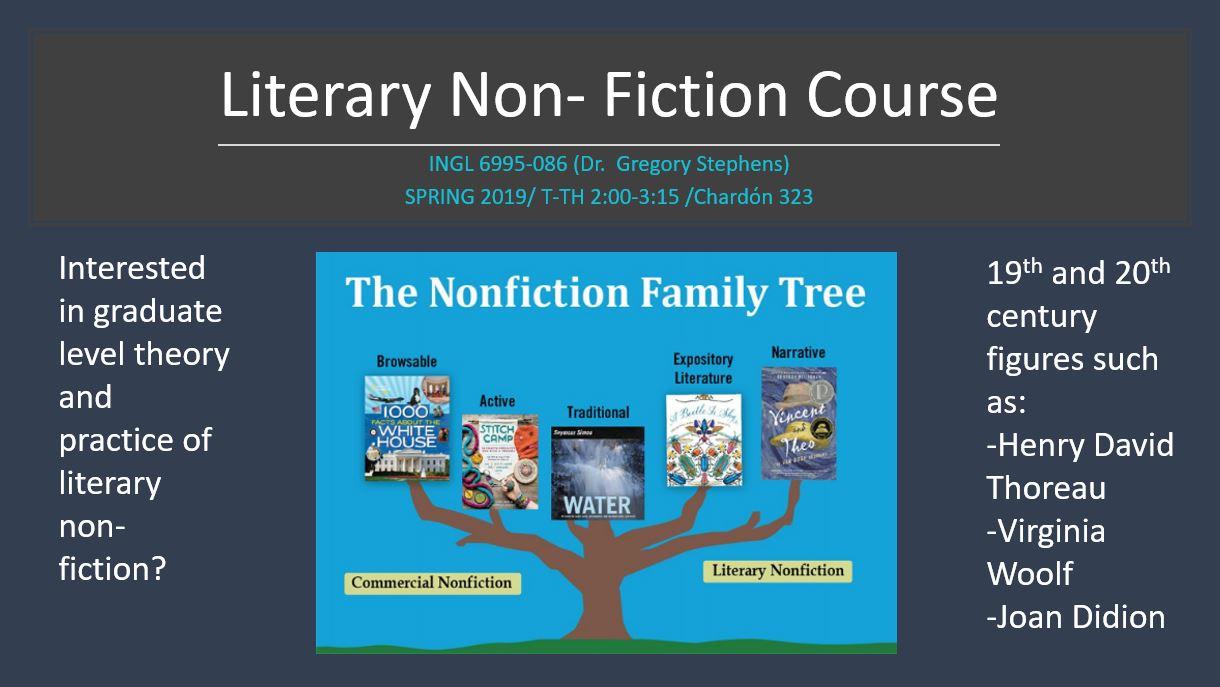 [Course Promo]: INGL 6995: Literary Non-Fiction