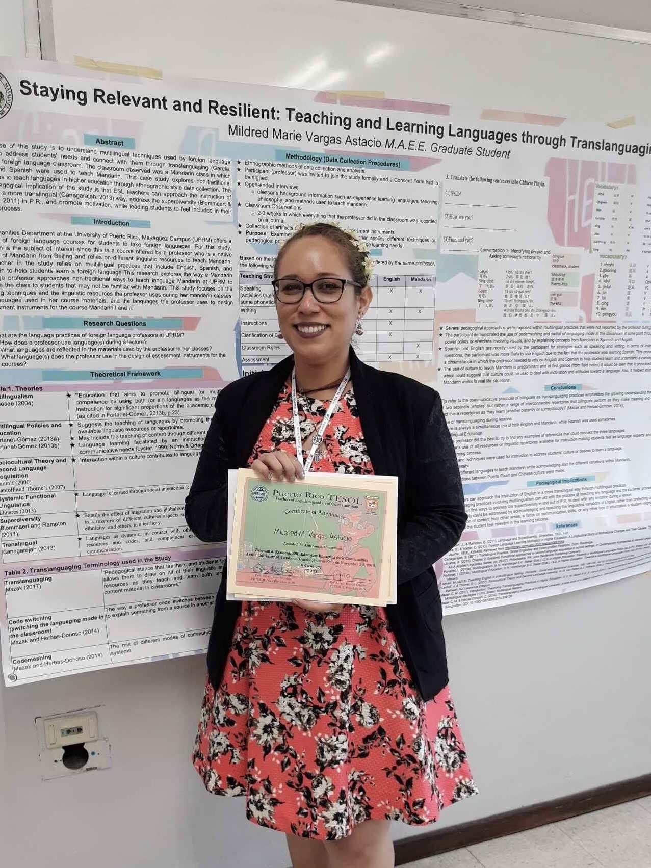 An English Department's student with a Puerto Rico TESOL Certificate.