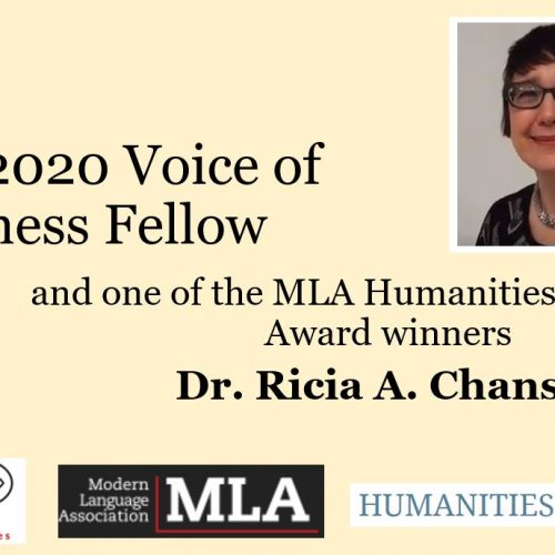 Dr. Ricia Chansky- winner of an MLA Award and Voice of Witness Fellow