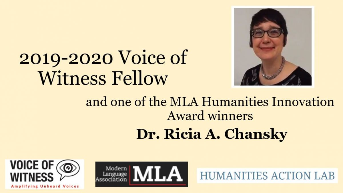 Banner featuring the logos of The Voice of Witness Project, The MLA Association, the Humanities Action Lab, and Dr. Chansky.