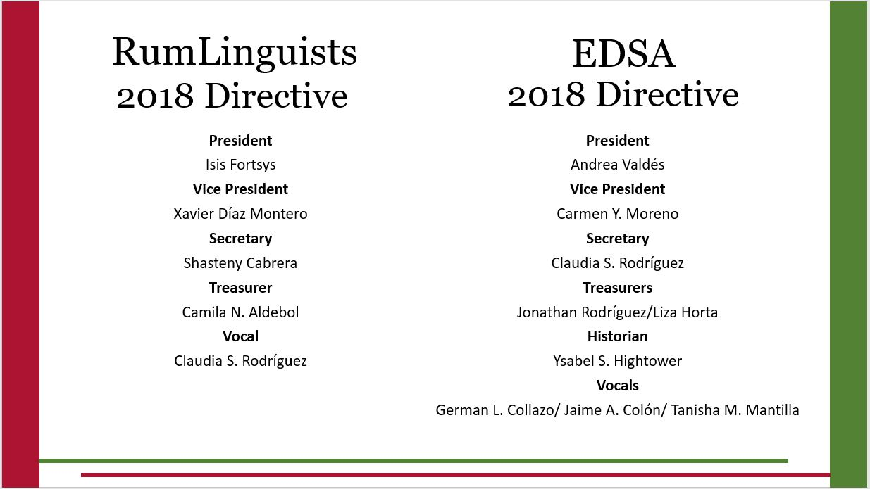 Names of the 2018 RumLinguists and EDSA Directives listed.