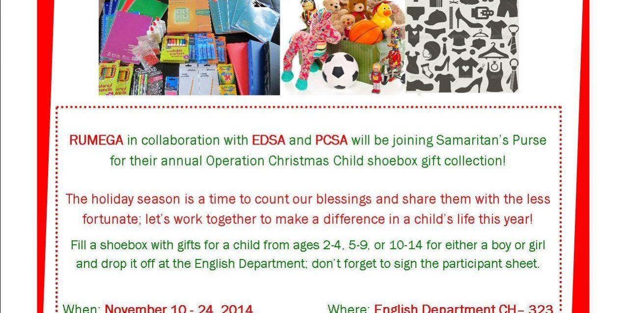 RUMEGA Operation Christmas Child – Department of English