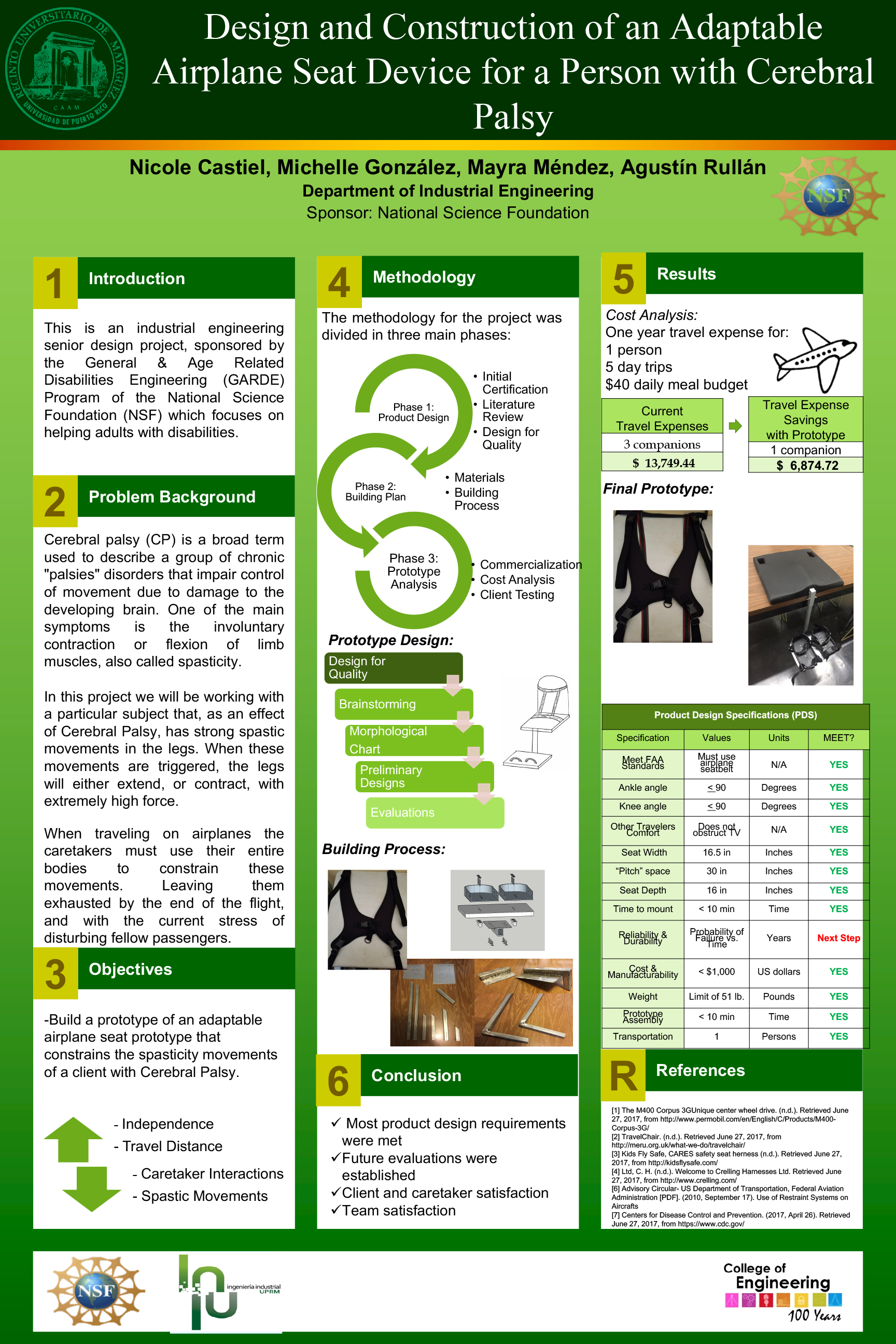 Design and Construction of an Adaptable Airplane Seat Device for a Person with Cerebral Palsy (Poster)